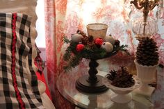 Opulent Cottage-Toile, Plaid and Gingham Christmas Bedroom
