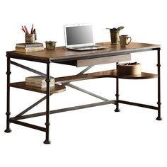 Lend a stylish touch to the home office or living room with this lovely writing desk, showcasing a metal frame and wood top.    Pr...