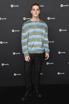 """AJ Mitchell Photos - AJ Mitchell attends Spotify Hosts """"Best New Artist"""" Party at The Lot Studios on January 2020 in Los Angeles, California. - Spotify Hosts """"Best New Artist"""" Party At The Lot Studios - Red Carpet Brooke Butler, Aj Mitchell, Kids Choice Award, Photo L, New Artists, Red Carpet, Studios, January, Men Sweater"""