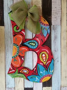 paisley initial door hanger by FischFynnDesigns on Etsy