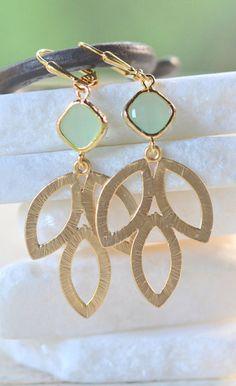 Mint Dangle Earrings in Gold. Mint Leaf Drop