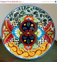 "Vintage Porcelain TALAVERA Pottery Round Plate 11"" Smooth Rim Mexican Folk Art ESTATE FIND on Etsy, $31.50"
