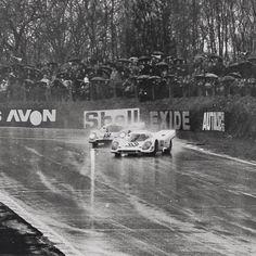 Porsche 917 drifting on a heavy wet racetrack of Le Mans.