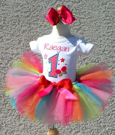 Personalized Rainbow Butterfly Birthday Tutu Outfits