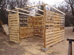 Shed Plans - shed made from pallets. i want to use these to build a pallet playhouse. - Now You Can Build ANY Shed In A Weekend Even If You've Zero Woodworking Experience! Pallet Building, Building A Shed, Building Homes, Building Plans, Building Design, Shed Frame, Diy Frame, Old Pallets, Recycled Pallets