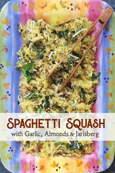 Spaghetti Squash with Garlic & Almonds Amazing Vegetarian Recipes, Low Carb Vegetarian Recipes, Best Gluten Free Recipes, Real Food Recipes, Snack Recipes, Yummy Recipes, Pasta Side Dishes, Side Dishes Easy, Side Dish Recipes