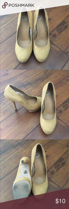Women size 6 Suede heels Women size 6 mustard colored suede heels Shoes Heels