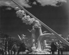 """1939 NY Fair: Sculptured sundial """"Time and the Fates of Man"""" by Paul Manship was at the beginning of Constitutional Mall, prior to Washington Square, at the opposite end of The Court of Peace. It was the largest sundial of it's time."""