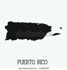 White Silhouette of the Country Puerto Rico