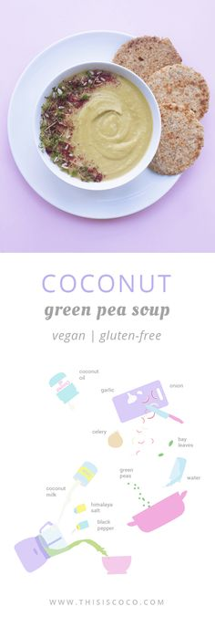 Creamy coconut green pea soup, vegan and gluten-free! Coconut Recipes, Healthy Soup Recipes, Vegetarian Recipes, Green Pea Soup, Green Peas, Coconut Sugar, Coconut Flour, Coconut Cream, Vegan Options
