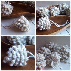 crochet pinecones. Pattern here http://planetmfiles.com/2008/12/18/free-crochet-pine-cone-pattern/