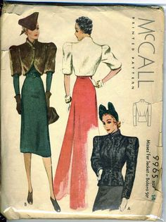 McCall 9965, Misses' Fur Jacket or Bolero; ©1938. Featured in McCall Style News November 1938. | Vintage Patterns Wikia