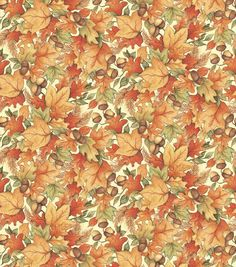 Autumn Inspirations Susan Winget Leaf Acorn Toss 2 Fabric.  Wish I could get my…