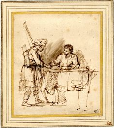 Rembrandt, Esau selling his birthright to Jacob; Esau standing at l carrying his bow and quiver and wearing a turban, shaking the hand of Jacob who sits at a table to r. c.1640-1 Pen and brown ink, touched with brown-grey wash
