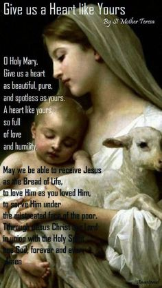 Our Morning Offering – 27 May Give us a Heart like Yours By St Mother Teresa of CalcuttaO Holy Mary, Give us a heart as beautiful, pure, and spotless as yours. A heart like yours, so full of love and. Catholic Religion, Catholic Quotes, Catholic Prayers, Catholic Saints, Religious Quotes, Blessed Mother Mary, Mother Teresa, Blessed Virgin Mary, Mother Mary Quotes