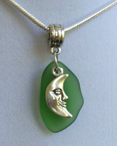 Sea Glass and Man in the Moon Necklace by joytoyou41 on Etsy, $25.00