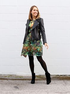 Toughen up a flowered dress with tights, ankle boots & a black moto jacket. - J's Everyday Fashion