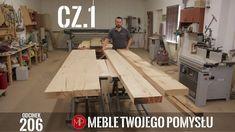 Cz1 Stół rustykalny z szerokich fosztów dębowych z drewnianymi nogami, p... Wooden Leg, Rustic Table, Woodworking, Youtube, Rustic Desk, Farmhouse Table, Carpentry, Woodwork, Youtubers