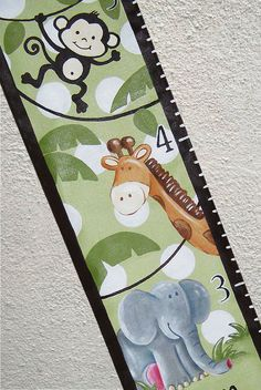Custom Growth Chart Canvas Jungle Lion by SweetDreamMurals on Etsy, $70.00