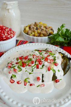 Chiles en nogada sin capear (fáciles & deliciosos) www.pizcadesabor.com