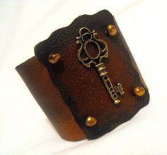 Key leather bracelet rustic and unique  SALE by julishland on Etsy, $11.70