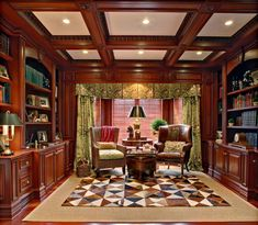 Home Library Design with Classic Theme Mood : Classic Ceiling Wooden Bookshelf.  Change out the curtains and carpet, maybe switch out the wicker for another leather wing-back. I'd be very happy in this room