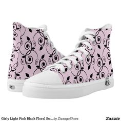 Girly Light Pink Black Floral Swirl Damask Zizzago Printed Shoes