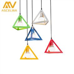 ASCELINA Nordic pendant lights Retro loft LED Lamps with Triangle lamp shade light fixture for home kitchen lighting E27 85-260V