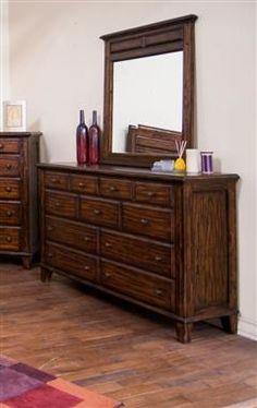 Safari Wood Glass Dresser and Mirror 2342SB-DM