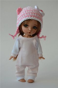 Пижамки + шапочки для Pukifee и подобных кукол ростом 15-16 см. / Все для БЖД / Шопик. Продать купить куклу / Бэйбики. Куклы фото. Одежда для кукол