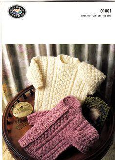 1001 Readicut Knitting Pattern for Baby Child Aran Jumper &