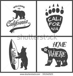 California Bear American Retro Style Graphic Stock Vector 571840465