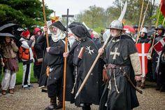 """Hospitaller knights marching, Dutch reenactment group """"de Hospitaalridders"""""""