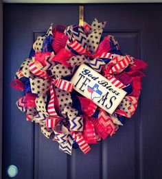 God Bless Texas wreath, Patriotic Wreath, 4th of July Wreath, Independence Day Wreath. Welcome Texas wreath ! This wreath would look beautiful on your door as a Everyday wreath or 4th of July ! I made this wreath with a red, white, and blue mesh and ribbon. I topped it off with a God Bless Texas sign. This wreath is a full wreath measuring 26inches in length and width. This wreath is made to order and will be shipped to your home via USPS. This wreath would look wonderful on your door to...