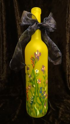 Floral Hand Painted Wine Bottle design by Celise Paine, $25.00 https://www.facebook.com/CelisesPaintings/