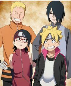 Naruto, Sasuke, Boruto y Sarada.