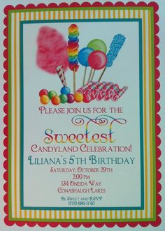 Birthday invitation this would be perfect for emme claires party candy birthday party ideas stopboris Image collections