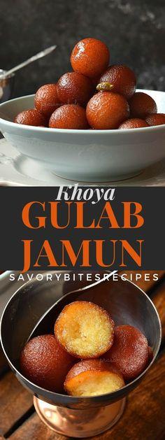 Gulab Jamun Recipe(Gulab Jamun made with Khoya) Recipes indian food recipes Khoya Recipe, Jamun Recipe, Vegan Burrito, Korma, Köstliche Desserts, Delicious Desserts, Palak Paneer, Indian Dessert Recipes, Indian Recipes