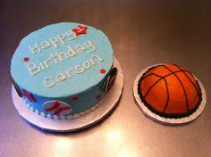 Sports cake for a 1st birthday - basketball, baseball, football, golf ball & a basketball smash cake.