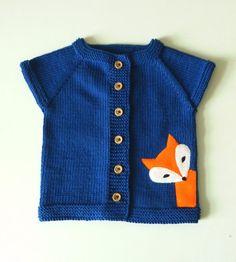 Knit kids fox vest moss green vest green wool baby vest by Tuttolv