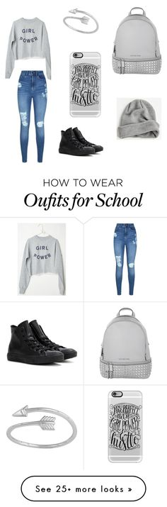 School Day by zuhraasad on Polyvore featuring Lipsy, Michael Kors, Converse, Casetify and BDG