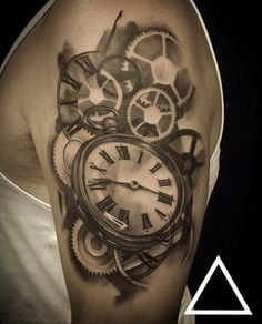 Blackwork Pocket Watch Tattoo by James Donovan