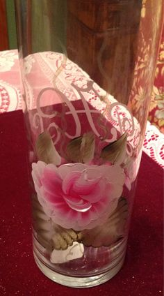 Hand painted and a etched monogram glass vase
