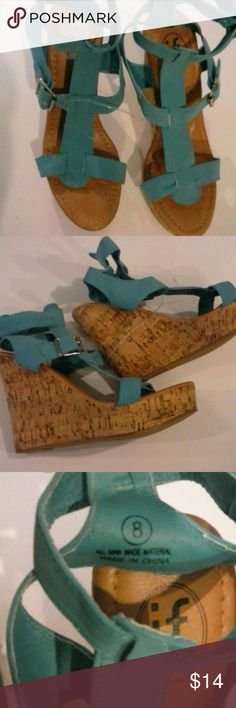 """NEW IF Sandals Wedges Platform faux Cork Suede 8 New Turquoise upper suede like and faux Cork platform, Wedges 4.5"""". 1""""platform. All man made material.  Size 8 M Bundle and save! Thanks for stopping by! IF Shoes Wedges"""