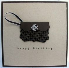 I tried to make a coordingating bag for the card using the same embossing method but with the Decoative label punch. The strap is Early Espresso 3mm tafetta ribbon and the sentiment is from Occasional Greetings.