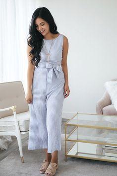 e509b61fb98 Angeline Blue Striped Jumpsuit. Striped JumpsuitDenim JumpsuitJumpsuit  OutfitSummer OutfitsSummer DressesDenim ...