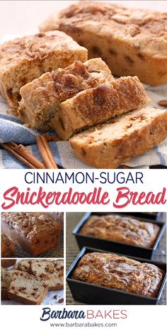 bread recipes If you like a Snickerdoodle cookie, youre going to love this Snickerdoodle bread. Its a sweet, buttery quick bread studded with luscious cinnamon chips with a crispy cinnamon sugar topping. Best Bread Recipe, Quick Bread Recipes, Baking Recipes, Cookie Recipes, Healthy Recipes, Sweet Bread Loaf Recipe, Breakfast Bread Recipes, Bread Maker Recipes, Baking Breads