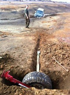 Use Your Tyre as a Ground Anchor when no other Anchor Points Are Present. Be careful not to dig too shallow.