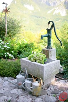 Water Cans, Water Trough & Well For Yard.love pump, could make into fountain to. Water Cans, Wate Patio Garden, Water Trough, Plants, Water Features In The Garden, Watering, Outdoor Gardens, Garden Inspiration, Container Gardening, Old Water Pumps