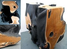 craig narramore - bespoke hand crafted wood furniture - a solid cube of teak shrouded in black lava coat